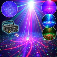 Wholesale Green Laser Machine - 5 Lens 80 Patterns Projector Light And Music For Disco Party RGB Disco Laser Show Stage Machine Floodlight