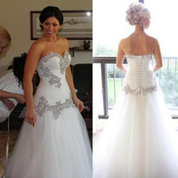 Wholesale Cheap Mermaid Skirts - Pnina Tornai Wedding Dress Vintage A-Line Sweetheart Bling Crystals Sequins Tulle Lace Up Back Chapel Train Bridal Dresses Cheap 7082