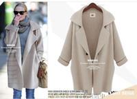 Wholesale Thick Wool Coat Girls - 2016women long coat sweater girls sweaters Cardigan jacket Plus size loose Leisure coat sweater wrap sweater cardigans Cape coat sweater