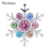 Wholesale Snowflake Blue - NOOSA 18mm Ginger Snap Christmas Gift for Women 4 Colors Glitzy Snowflake Snap Charm VOCHENG Vn-1143