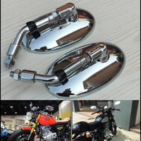 Retro Mirror Motorcycle Bike Rearview Vista lateral Vintage M10 Sliver Plating Chrome para scooter Baron BMS Cafe Racer VESPA Retro Mirror Round