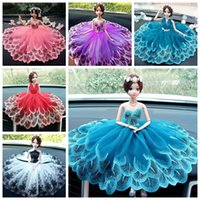 Wholesale Lady Car Models - 2017 New Car Interior Furnishing Articles Creativity Network Yarn Lady Dress Barbie Handmade Car Decorative Furnishing Articles Gifts
