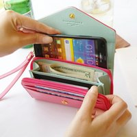 Wholesale Crown Pouch Flip - iphone 5 6 plus case Envelope wallet PU Leather Flip Crown Pouch card cases bag for samsung s4 s5 cover with hand strap