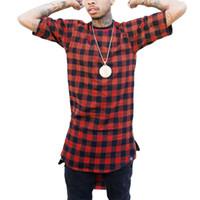ingrosso tiro streetwear-Zipper Plaid Hip Hop t shirt uomo Star Look Uomo Hiphop Skakeboard Streetwear Swag Tshirt Supera it T-shirt Uomo Tyga Style