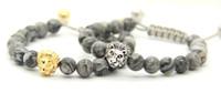 Wholesale Macrame Bracelets Beads - 2016 New Design Mens Bracelets Wholesale 8mm Grey Picture Jasper Stone Beads Gold and Silver Macrame Lion Head Bracelets