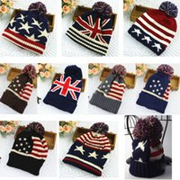 Wholesale british knitting wool for sale - British style flag wool hat men and women autumn and winter cute fashion US winter warm ear ear knitting winter hat