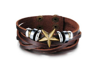 Wholesale Copper Corners - JEWELRY Casual Brown Leather Men Bracelet & Bangle Fashion five corners of the star can adjust the size of the new leather bracelet