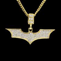 en kaliteli altın kaplama zincirler toptan satış-Erkekler Hip hop Batmen Kolye Kolye Altın Gümüş Kaplama Temizle Bling Mikro Kristal Küba Zinciri Ile En Kaliteli Takı