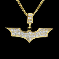 Wholesale Batman Tops - Men Hip hop Batmen Necklace Pendant Gold Silver Plated Clear Bling Micro Crystal Top Quality Jewelry With Cuban Chain