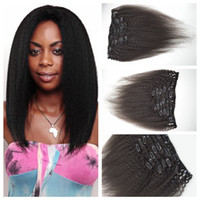 Wholesale Chinese Style Hair Clips - New style Brazilian human kinky staight hair weft clip in extensions Natural color 7pieces 120G Clip on hair 4a,4b,4c G-EASY