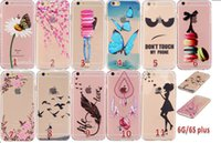 Wholesale Silicone Butterfly Iphone Cases - Samsung apple transparent protective shell tpu painted huawei Protective sleeve cartoon iPhone6 butterfly mobile phone shell creative design