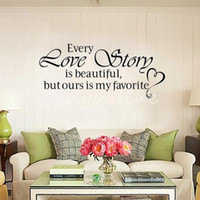 Wholesale word wall art wholesaler - New Wall Stickers Home Decor - English quote Every Love Story is Beautiful Vinyl Lettering Words Wall Art Quote Sticky Decals