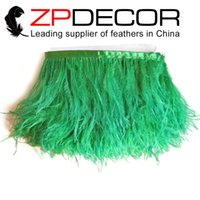 Wholesale Most Popular Wholesale Clothing - ZPDECOR Export Factory Most Popular 10-15cm(4-6 inch)Eco-friendly Dyed Beautiful and Unique Green Ostrich Feather Trim for Clothing