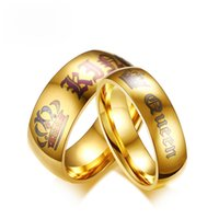 Atacado Golden Crown Fashion Rings EURO-US Popular Simple Couple Band Homens Anéis de ouro High Polished Stainless Steel Love Wedding Rings