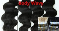5A Grade Body Wavy 100g 10 '' - 20 '' 22 '' 24 '' 26 '' 28 polegadas Skin Wefts PU Tape 100% Indian Remy Human Hair Extensions