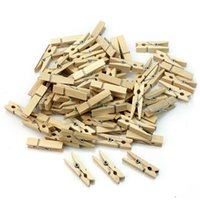 Wholesale Clip Wooden Mini - Wholesale Very Small Mine Size 25mm Mini Natural Wooden Clips For Photo Clips Clothespin Craft Decoration Clips Pegs 50pcs