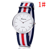 Wholesale Geneva Stripes Watch - Free shipping Geneva, Geneva, contracted graduated dial Fashion nylon tape ultra-thin men stripe spot wholesale watches