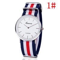 Wholesale Watches Stripes - Free shipping Geneva, Geneva, contracted graduated dial Fashion nylon tape ultra-thin men stripe spot wholesale watches
