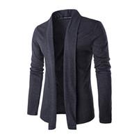 uzun ince hırkalar toptan satış-2017 Yeni Sonbahar Kış Şık Moda Erkekler Lüks Ince Örme Hırka Erkek Ceket Ince Uzun Kollu Rahat Giyim Siyah Gri