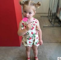 Wholesale Toddler Leotard Wholesale - Cute Baby onesie Ruffle suspender strawberry printed Infant Jumpsuit Summer Cotton Princess Toddler Rompers Babies leotard Bodysuits 6556