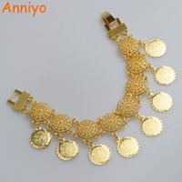Anniyo Wholesale New Coin Bangle Mulheres, Corrente árabe Middle Eastern Gold Cromes de cor Jóias africanas Middle Eastern Wedding # 066206