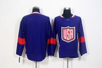 camisetas del equipo de hockey en blanco al por mayor-2016 World Cup Blank Team USA Hockey Jerseys 8 Joe Pavelski 11 Zach Parise 17 Ryan Kesler 20 Suter 30 Ben Bishop Copa Mundial de Hockey Jersey
