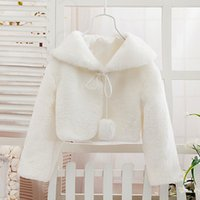Wholesale Girls White Jackets Coats - Wholesale-Cheap White Red Black Ivory outerwear Faux fur Flower girl Cape Jacket Coat wedding cloak for evening party prom christmas