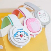 Wholesale Cute Girl Headphones - 2017 3.5mm Cute Cartoon Big Hero Doraeman Wired Headphones With Microphone Headset Earphone For Girls Kids Smartphone