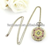 Wholesale Enamel Flower Pocket Watch - Vintage jewelry new Colorful enamel rhinestone movt flower pattern pocket watch pocket watch necklace vintage watch bracelet