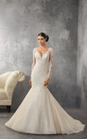 Wholesale Tull Wedding Dresses Sleeves - On-Sale! 2016 Mermaid Wedding Dresses With Tull V-Neck Sweep Train Applique Beads Button Sequins Elegant Chapel Wedding Dresses #DL11033