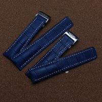 Wholesale Genuine Leather Automatic Men Watch - New 22mm 24 mm Men`s Watch Band Genuine Leather Alligator Grain Blue white stitched Watch Straps for Automatic mechanical watch Sport Hot