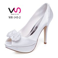 Wholesale Heel Pumps China - Sexy Stiletto Heel Ivory Hot Sell Wedding shoes high heel upper shoes party evening shoes bridal wedding shoes with bow made in China