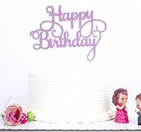 Wholesale Cake Fashion For Kids - Fashion Hot Gold Silver Glitter Happy Birthday Party Cake toppers decoration for kids birthday party favors Baby Shower Decoration Supplies