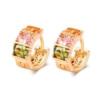 Wholesale Vintage Ruby Stud Earrings - Free Shipping New Ruby Crystal Clip Earring for Kids Girls Women Colorful Vintage Earring Flower Dangle Earrings Hoops ER-041