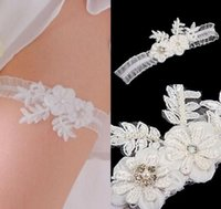 Wholesale Garter Accessories - Romantic Lace Crystals Bridal Garters White Sweet Sexy Wedding Leg Garters Bridal Accessories Free Shipping On Sale CPA592