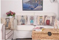 Wholesale Rabbit Lion - 2016 Cartoon Animal Cushion Cover Decorative Throw Pillow Covers Pillow cover Sofa The lion rabbit dogs