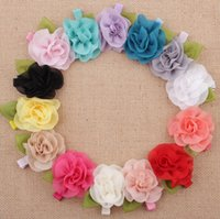 Wholesale Hair Bobby Pin Color - New fashion kids Barrette accessories Baby Girls Hairpin with Flowers children girls hair ornaments bobby pin with hair clips 14 color KFJ57