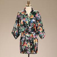 Wholesale Short Black Silk Robes - Wedding 2016 Summer Style Bathrobe Silk Robes Satin Robes Womens Pijamas Print Flower Purple Short Sleeve Kimono Robe Silk Dressing