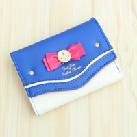 Vente en gros- Nouveau Samantha Vega Sailor Moon Wallet Femme Lady Short Portefeuilles Femme Candy Color Bow Knot PU Cuir pour Card Purse Clutch Bag