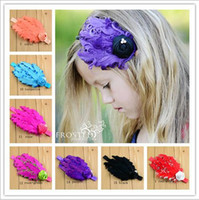 Wholesale girls hand accessories online - New Baby girls feather Headbands Hand made Rose pearl feather Ornaments hairbands Kids headwear Children hair accessories colors KHA33