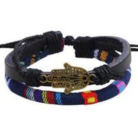 Wholesale Budda Bracelets - Colorful Fabri Strap Alloy Budda Hand BRACELET Chic Bracelets fashion wrist bangle Free style Cheap On Sale wrist jewelry ornaments Bangles