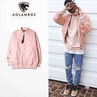 Wholesale Korean Long Vest Coat - Pink Jacket Men Hip Hop Loose Bomber Jacket Korean Fashion men and women Couples Jacket and Coat Pink baseball clothing M-3XL