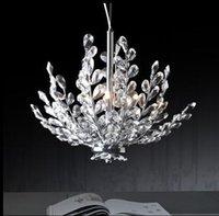 Wholesale Crystal Floral Chandelier Lighting - 3 Light Crystal Chandelier Light Floral French Crystal Lustre Light Cristal Suspension Hanging Lamp MD2367