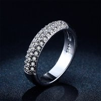 Wholesale Silver Gold Plated Jewelry Rings - New Design Fashion Silver Rings For Women CZ Diamond Jewelry White Gold Plated Wedding Engagement love Female Ring Bijoux L148