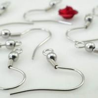 gümüş küpeler toptan satış-500 adet / grup toptan gümüş Küpe Takı Bulma Bileşenleri Paslanmaz Çelik Kulak Telleri Kanca ~ 4 MM Boncuk + Bobin Küpe ile Bulma DIY