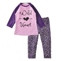 Wholesale Leopard Outfits For Babies - Baby Girls Clothes Sets Autumn Long Sleeve T-shirt+Pants 2 PCS Baby Girl Clothes Outfits For 1~5 Y