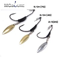 Wholesale Ice Fishing Bait Wholesale - 5pcs lot Crank hook with the lead with Metal Spoon sequins Add weight lead lures crank hook Soft bait Soft worm hooks