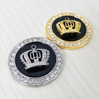Wholesale Stickers Diamonds - Wholesale Fashion Metal Car Styling Decoration Stickers Fine Bling Crystal Diamond Crown Emblem Personality Car Body Sticker Accessories