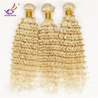 Wholesale Brazilian Hair Tight Curls - Blonde Brazilian Deep Curly Hair Extensions 7a 100% Human Hair Weave Tight Kinky Curly Hair Deep Wave 3pcs Jerry Curl #613