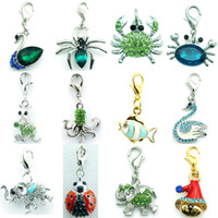 Wholesale New Floating Charms - 2016 DIY Mix Sale New Design Fashion Green Crystal Dangle Floating Animal Pendant Lobster Clasp Charms For Jewelry Accessories
